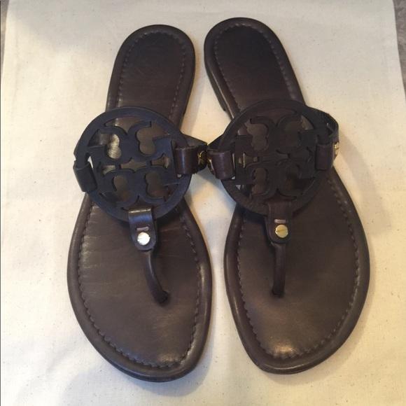 62dd29127 Tory Burch Dark Brown Leather Miller Sandals 7. M 5b8a26fe9264af292b3c1b4c
